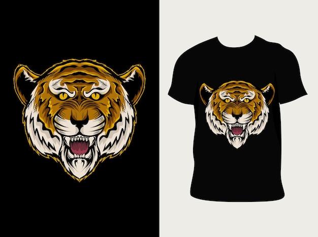 Illustration tête de tigre avec conception de t-shirt