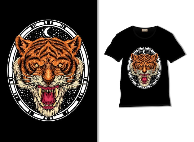 Illustration de tête de tigre avec un design de t-shirt