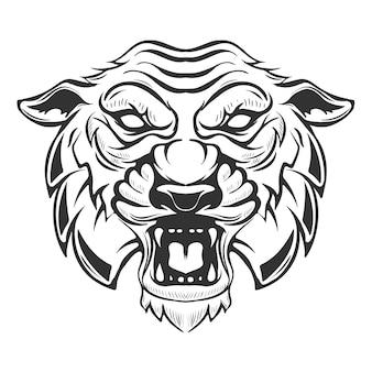 Illustration de tête de tigre sur fond blanc. images pour, étiquette, emblème. illustration.