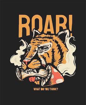 Illustration de tête de tigre avec illutration de style trippy