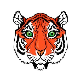 Illustration d'une tête de tigre isolée dans un style vintage pour textiles, impression et tatouage.
