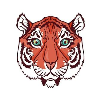 Illustration d'une tête de tigre isolée dans un style vintage