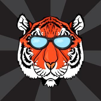 Illustration d'une tête de tigre isolée avec des lunettes