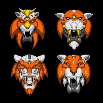 Illustration de tête de tigre mecha