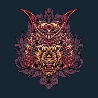 Illustration de tête de tigre samouraï japonais