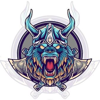 Illustration de tête de viking ours