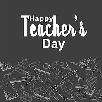 Illustration d'un texte stylé pour la journée des enseignants heureux.