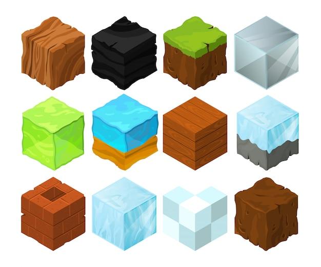 Illustration de texture de dessin animé sur différents blocs isométriques pour la conception de jeux