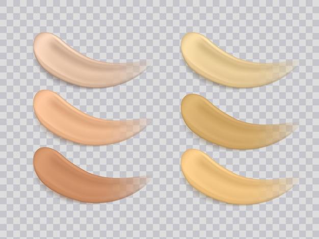Illustration de la texture des fondations de couleurs maquillage ou crème cosmétique