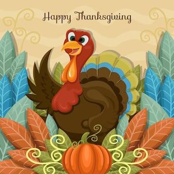Illustration de thanksgiving plat dessiné à la main avec la dinde