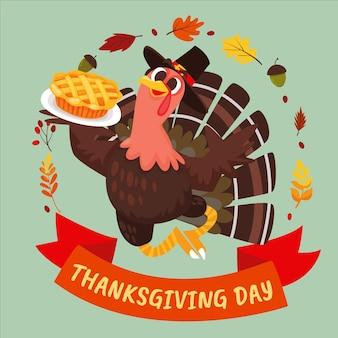 Illustration de thanksgiving plat dessiné à la main