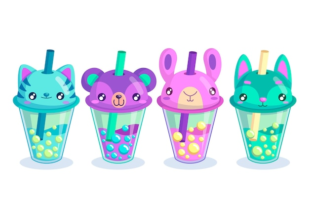 Illustration de thé à bulles kawaii