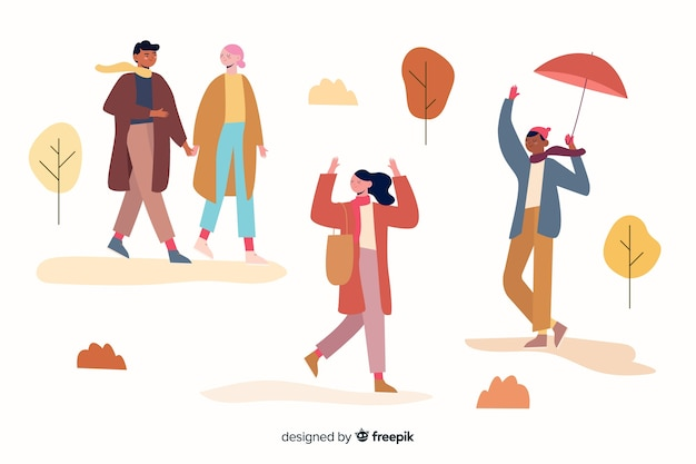 Illustration avec thème automne et vêtements