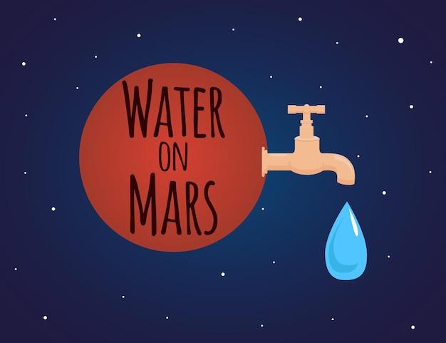 Illustration sur le thème de la découverte de l'eau sur mars avec un robinet et une goutte d'eau