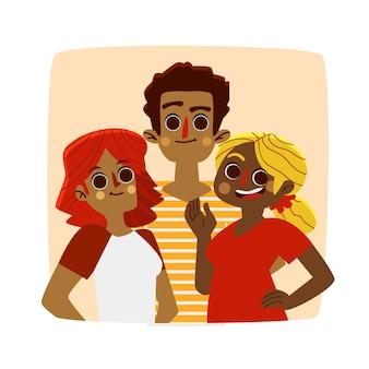 Illustration avec le thème du groupe de personnes