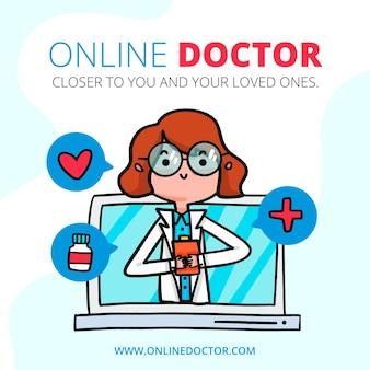 Illustration avec le thème du médecin en ligne