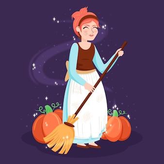 Illustration avec le thème du personnage de cendrillon