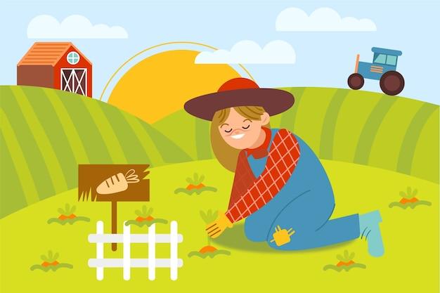 Illustration avec le thème de la ferme biologique