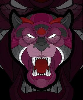 Illustration de tigre à colorier animal stylisé zentangle