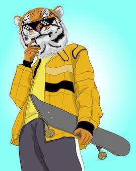 Illustration de tigre cool dessiné à la main.