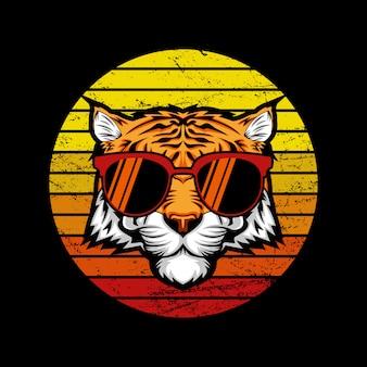 Illustration de tigre rétro coucher de soleil