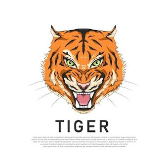 Illustration de tigre à tête plate