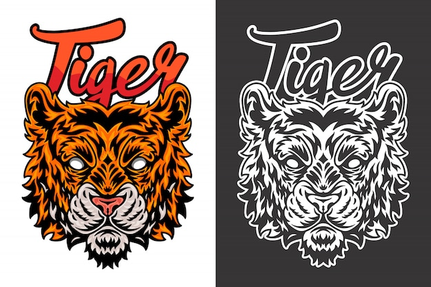 Illustration de tigre vintage