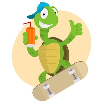 Illustration, la tortue boit du jus et monte sur une planche à roulettes, format eps 10