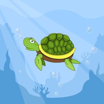 Illustration de tortue dans l'eau sur fond de rochers