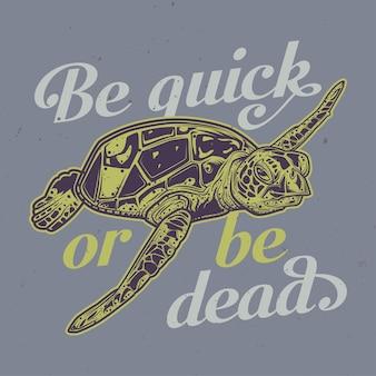 Illustration de tortue avec lettrage