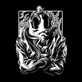 Illustration total rebel en noir et blanc