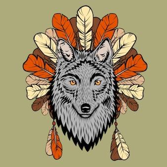 Une illustration de totem avec loup et plumes