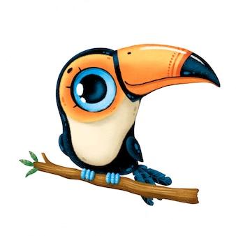 Illustration d'un toucan mignon de bande dessinée assis sur une branche isolée
