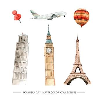 Illustration de tourisme aquarelle isolé créatif