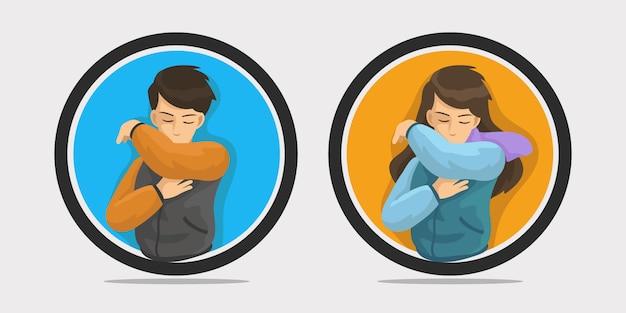 Illustration de la toux coude homme et femme