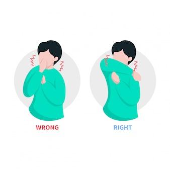 Illustration de la toux et des éternuements de l'homme au coude