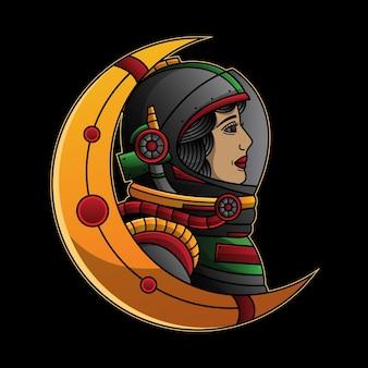 Illustration traditionnelle de l'astronaute