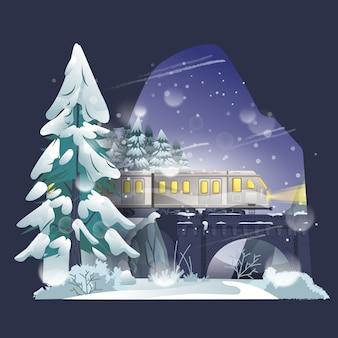 Illustration de train en hiver
