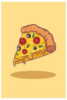 Illustration de tranche de pizza
