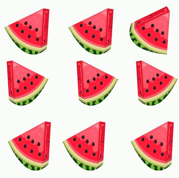 Illustration. tranches de pastèque avec des noyaux sur un fond blanc. le motif. image vectorielle d'été.