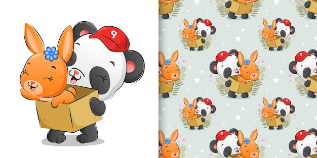 L'illustration transparente du panda de courrier tenant la boîte le lapin mignon dessus