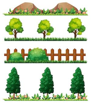 Illustration transparente des roches et des clôtures