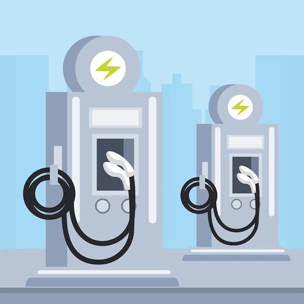 Illustration de transport d'écologie de pompes de service de station