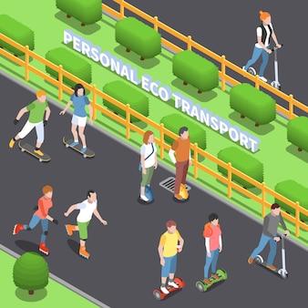 Illustration de transport écologique personnel avec symboles d'activité physique isométrique