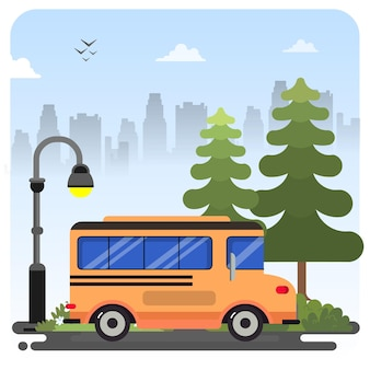 Illustration de transport par bus sur fond de ciel bleu