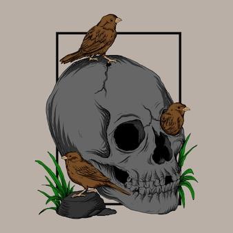 Illustration de travail dart et conception de t-shirt crâne et oiseau