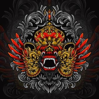 Illustration De Travail Dart Et Conception De T-shirt Ornement De Gravure Barong Vecteur Premium