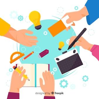 Illustration de travail d'équipe de conception graphique
