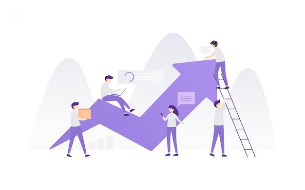 Illustration de travail d'équipe moderne
