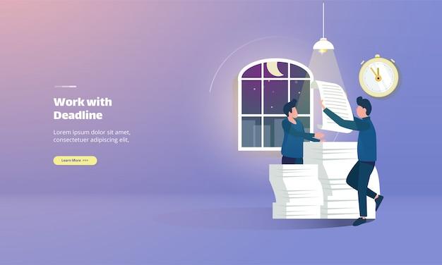 Illustration de travail d'équipe avec page de destination sur le travail